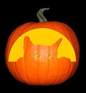 Cat - Peeking Cat Pumpkin