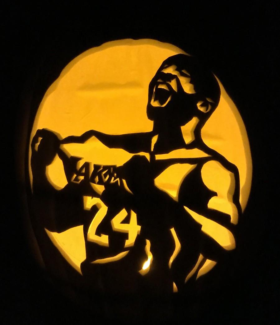 Kobe Bryant Carved Pumpkin